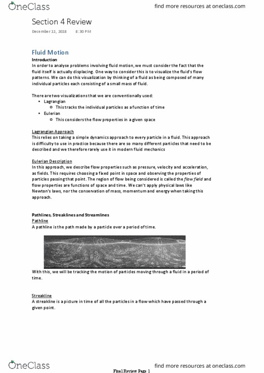 Civil and Environmental Engineering 2224 Lecture Notes - Lecture 4:  Stagnation Pressure, Pressure Measurement