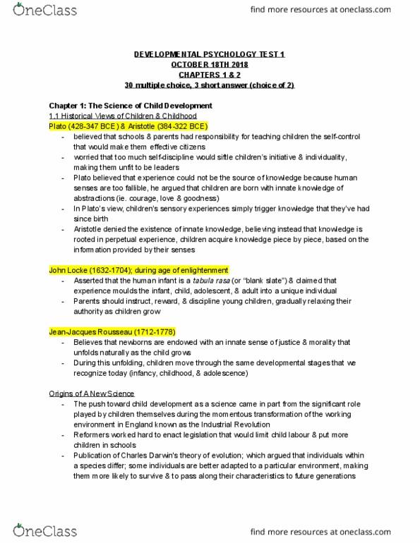 PSYC-2005EL Study Guide - Fall 2018, Quiz - Tabula Rasa, Child