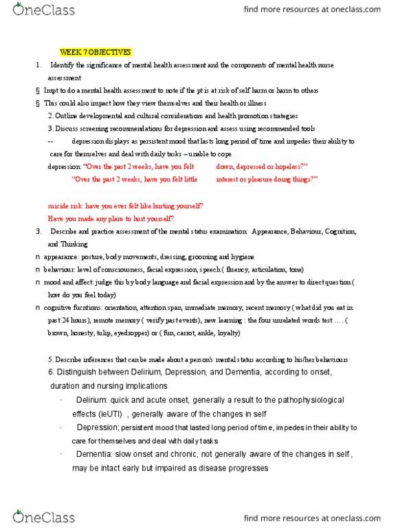 NSE 13A/B Study Guide - Quiz Guide: Mental Status Examination, Mental  Health Nurse, Health Promotion