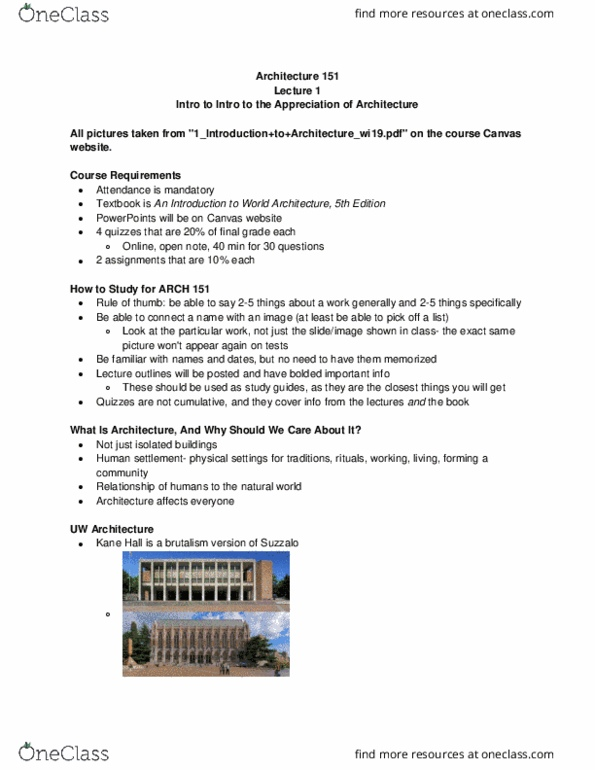 ARCH 151 Study Guide - Winter 2019, Comprehensive Midterm Notes - Dome,  Renaissance Architecture, Perspective (Graphical)