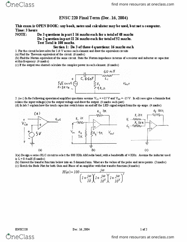 ENSC 220 Study Guide - Final Guide: Rlc Circuit, Hertz, Inductor