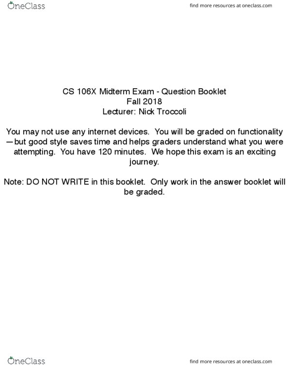 CS 106 X Midterm Exam Fall 2018