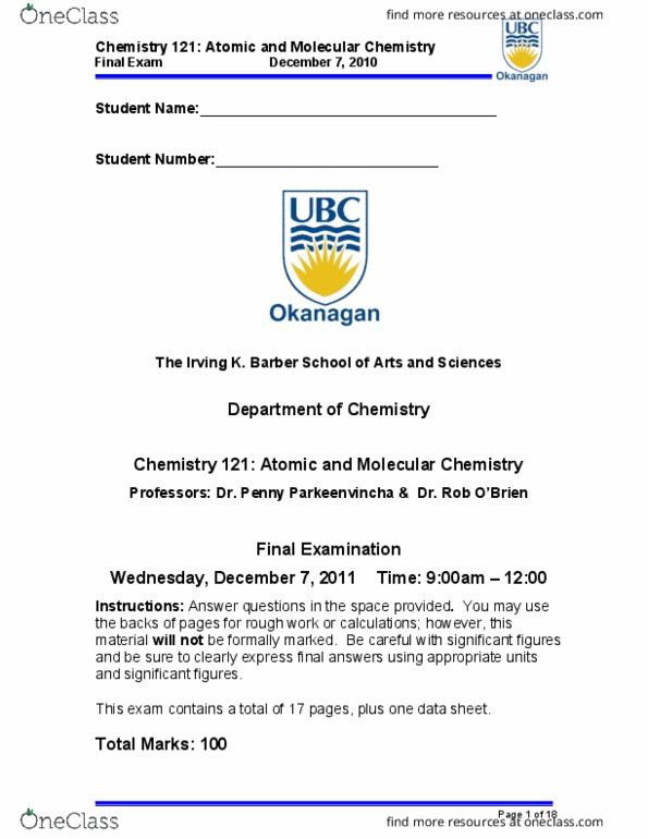 CHEM 121 Study Guide - Final Guide: Atomic Number, Diamagnetism,  Intermolecular Force