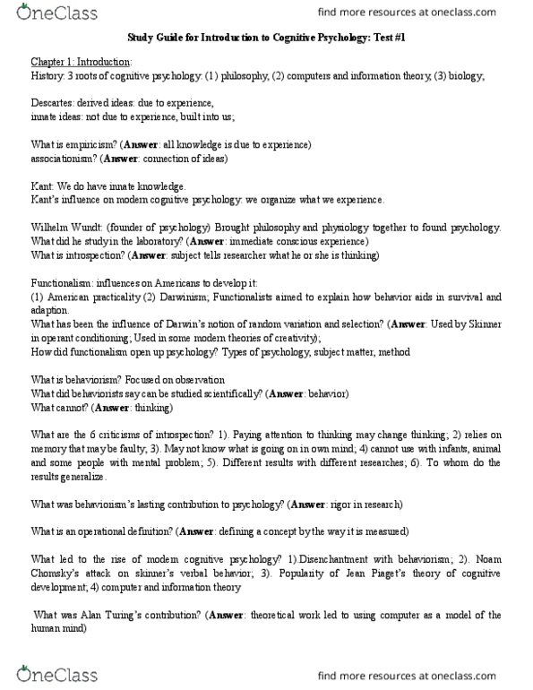 PSYC 2145 Study Guide Midterm Guide Wilhelm Wundt Cognitive Psychology Human Computer