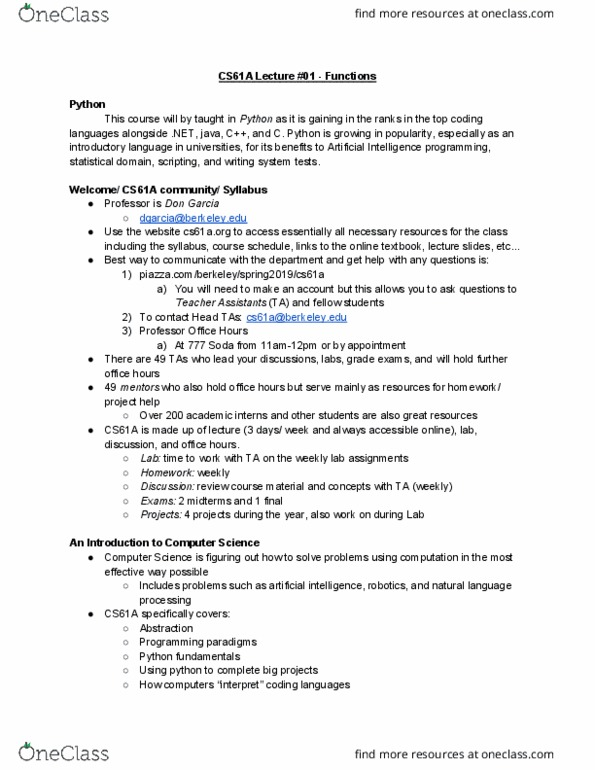 COMPSCI 61A Lecture Notes - Lecture 1: Natural-Language Processing,  Programming Paradigm, Code Project