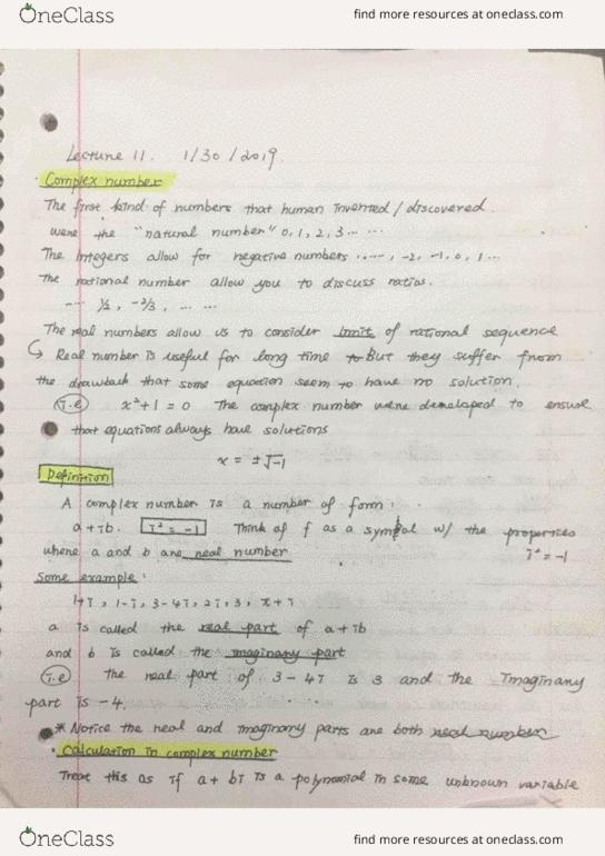 Class Notes for Mathematics at University of California