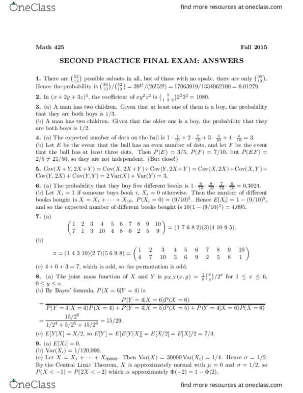 MATH 425 Final Exam 2 Fall 2015 Solutions