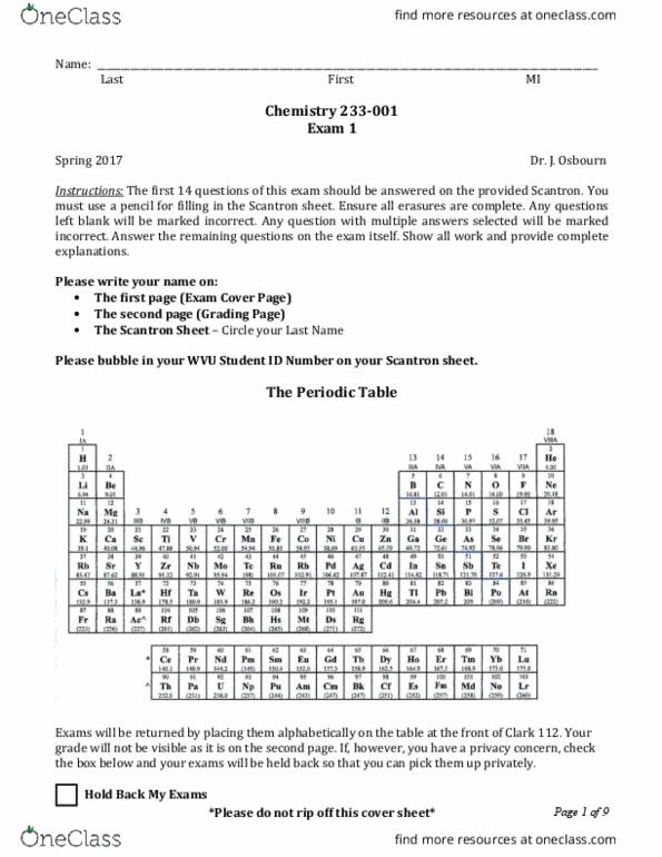 Chemistry 233 Exam 1 Spring 2017