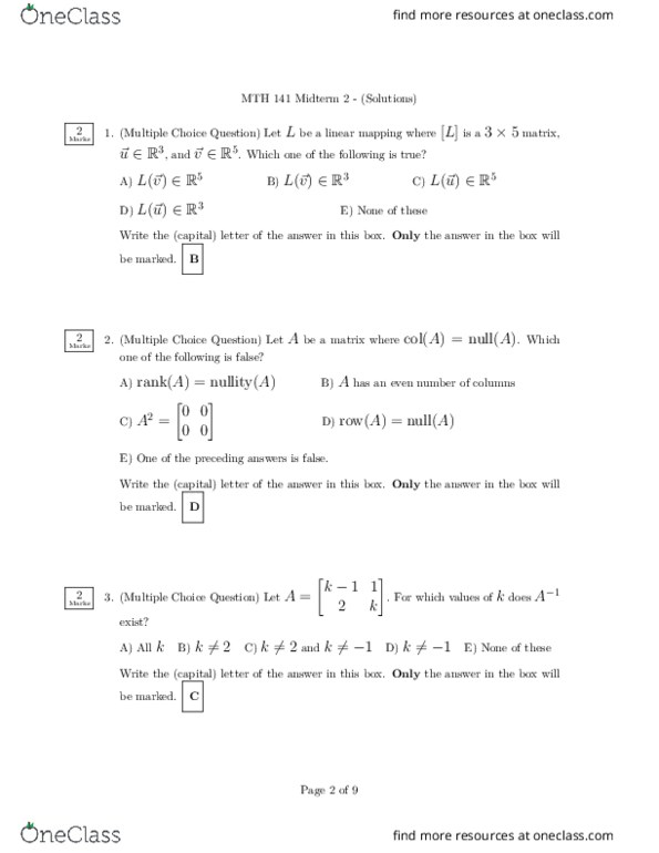 MTH141 – F2017 Midterm2 (Solution)