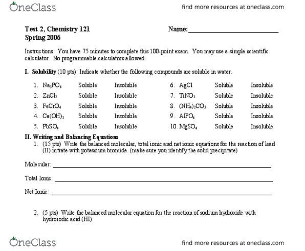 Chemistry 1110 2006 Spring Test 2