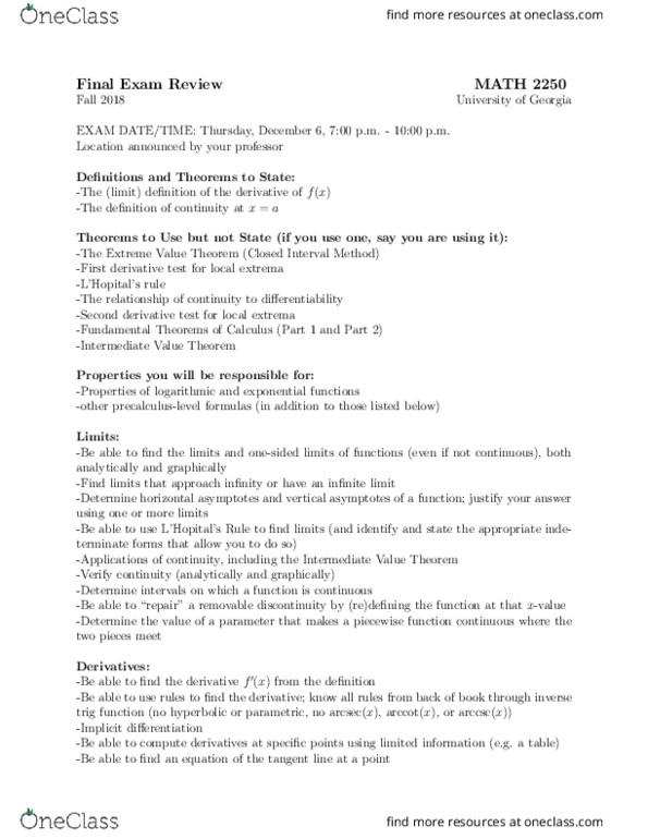 Study Guides for MATH 2250 at University of Georgia (UGA