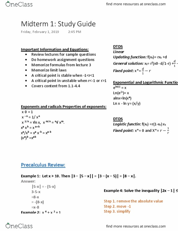 MAT 1330 Study Guide - Midterm Guide: Precalculus, Exponential Growth,  Asymptote