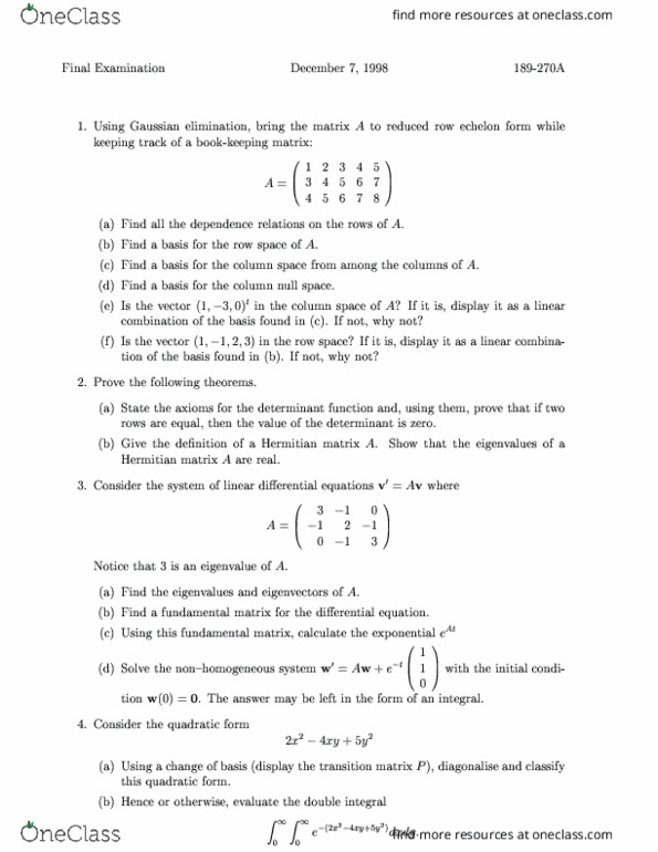 MATH 324 McGill Examw99 - OneClass