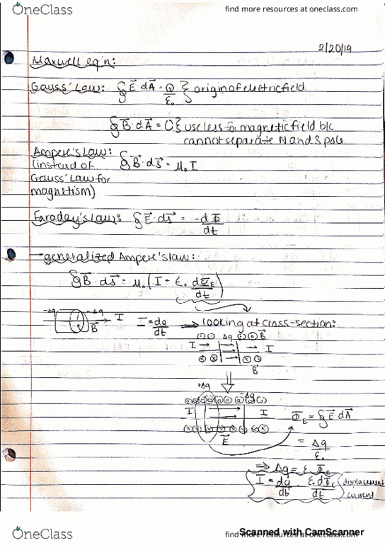 PHYSICS 5C Lecture 20: Maxwell Equations
