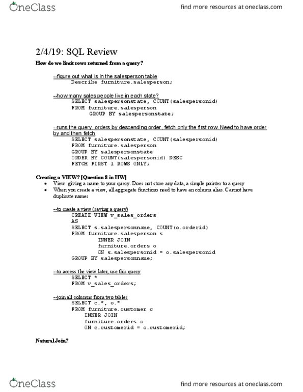 CIS 4400 Lecture Notes - Lecture 2: Relational Algebra, Data Definition  Language, Microsoft Excel