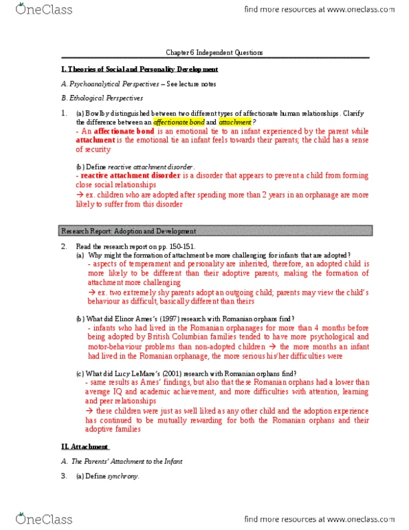 SOCI 100 Chapter 6: Chapter 6 Independent Questions doc
