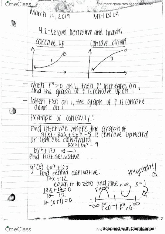 MTH 131LR Lecture 14: Second Derivatives and Graphs - OneClass