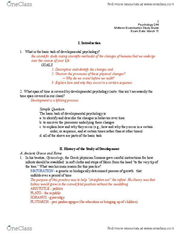 PSY 244 Study Guide Spring 2014 Midterm Soranus Of