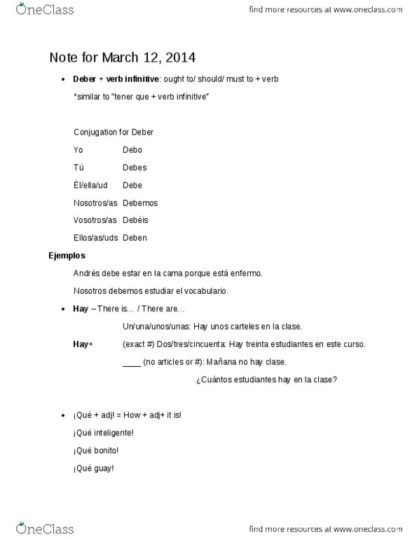SPAN 201 Lecture Notes - Infinitive