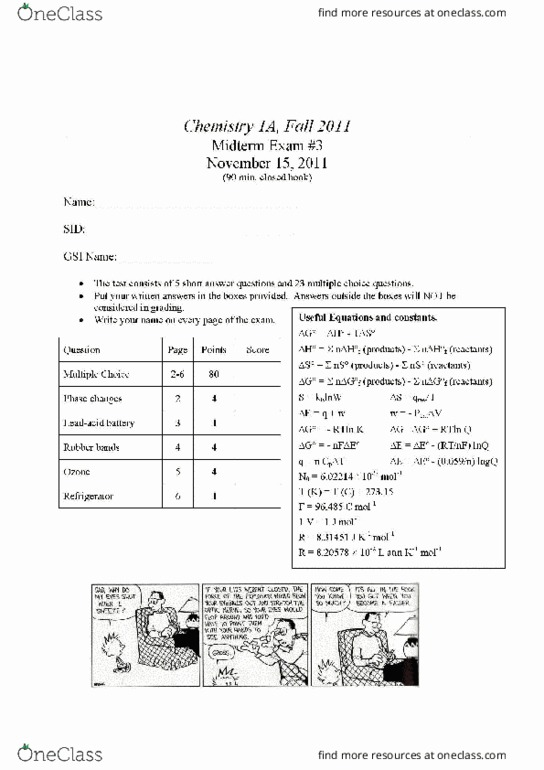 All Educational Materials for CHEM 1A at University of
