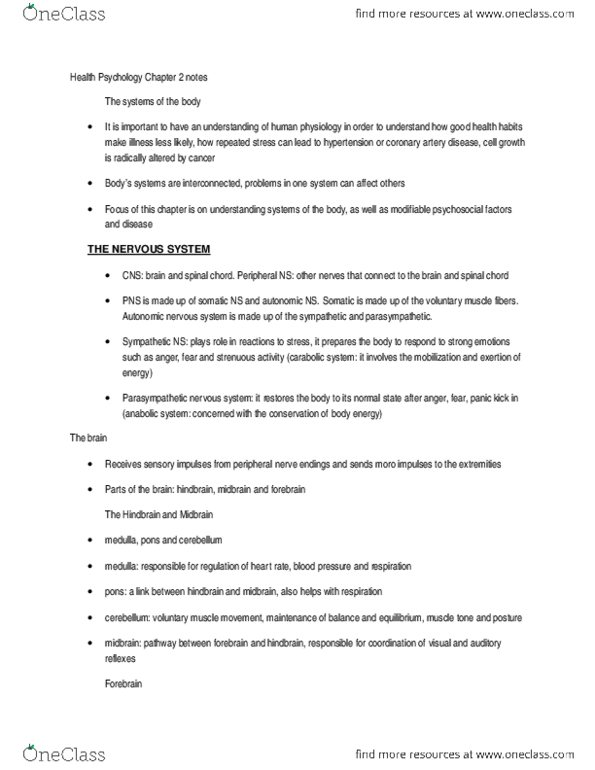 Health Psychology Chapter 2 notes docx
