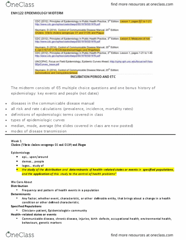 Study Guides for ENH 122 at Ryerson University - OneClass