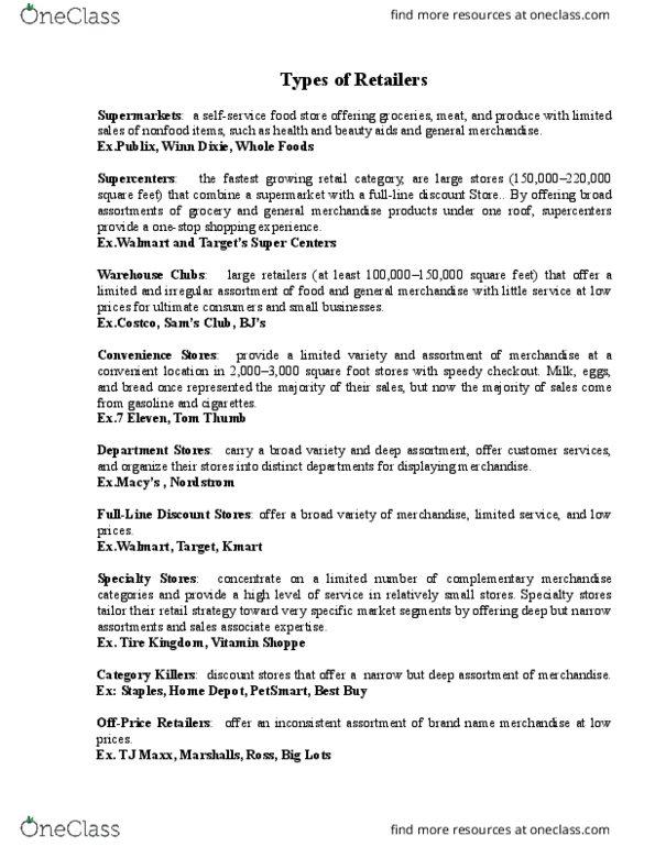 MKT 201 Lecture Notes - Lecture 10: Winn-Dixie, T J  Maxx, The Vitamin  Shoppe