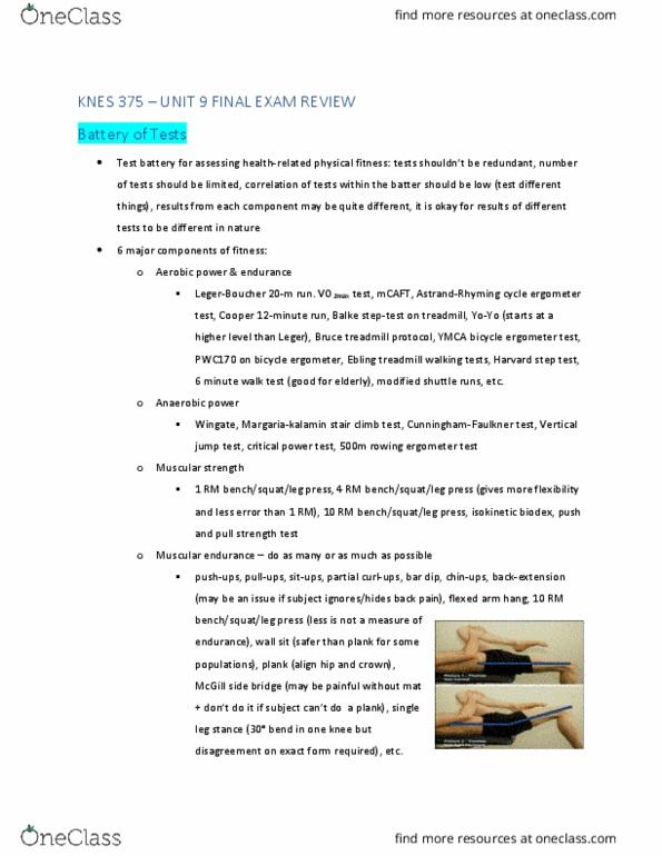 KNES 375 Study Guide - Winter 2019, Final - Harvard Step