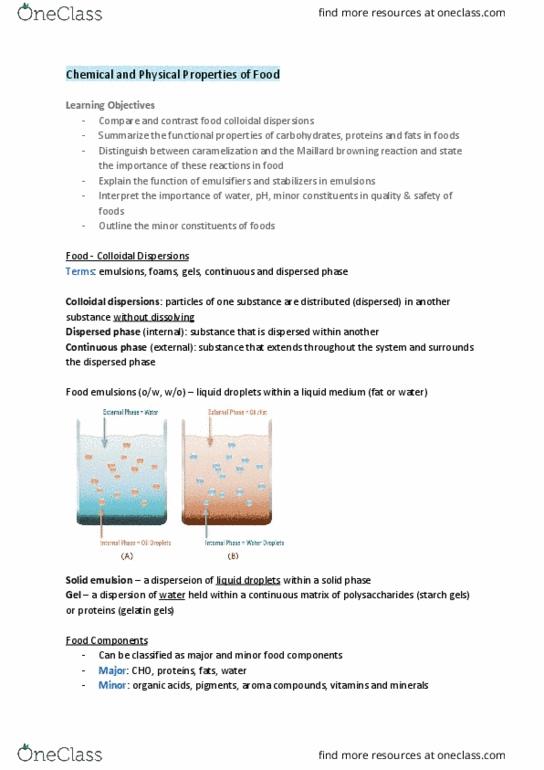 FNH 200 Textbook Notes - Summer 2019, Chapter 2 - Maillard