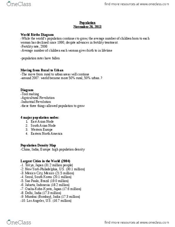 Geography 2143A/B Lecture Notes - Fall 2013, - Demographic