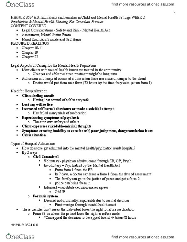 NURS 3524 Lecture Notes - Fall 2018, Lecture 2 - Nursing ...