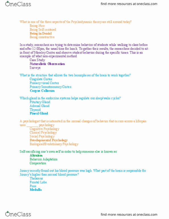 PSY100 Quiz Exam 1 Review Questions With Answers