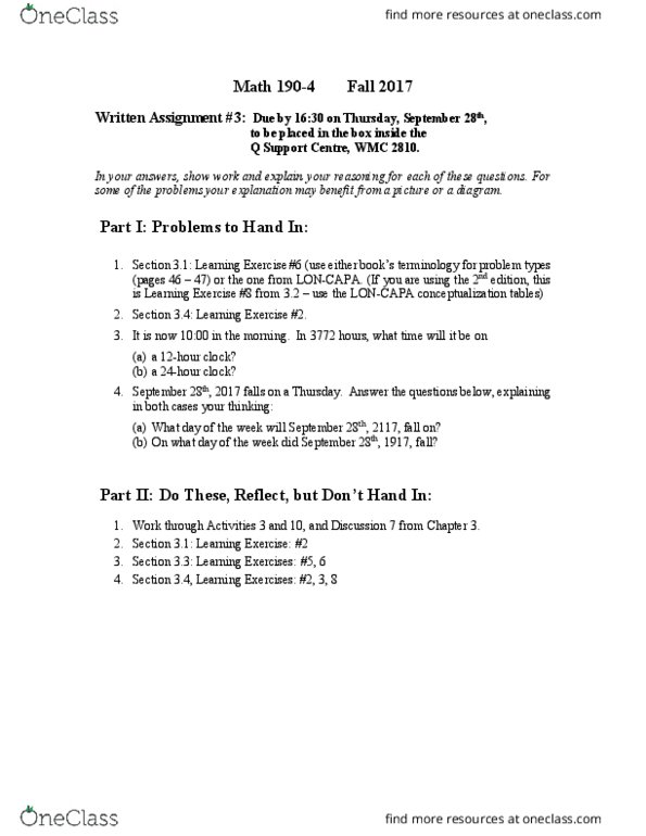 MATH 190 Lecture 3: Assignment 3 - OneClass