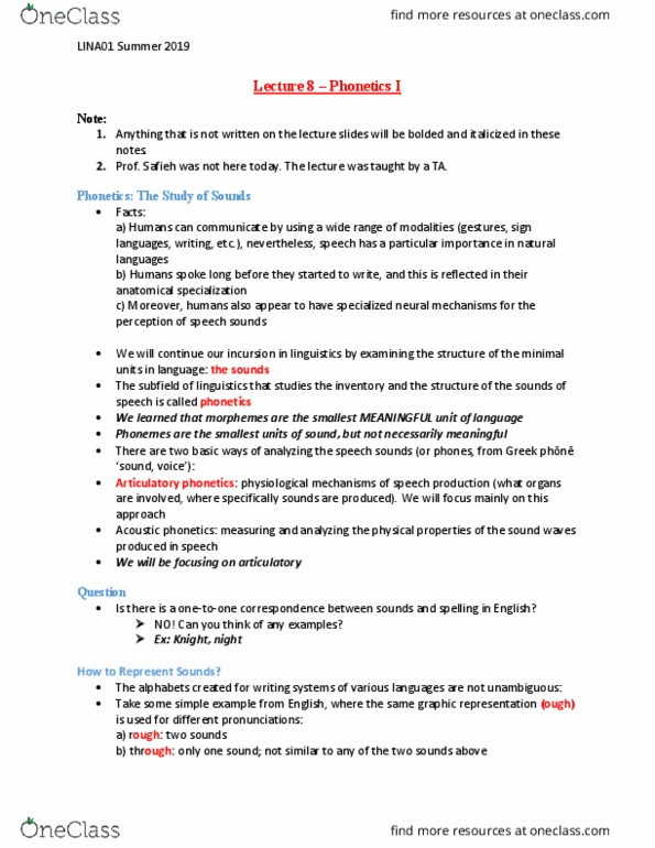 LINA01H3 Lecture Notes - Summer 2019, Lecture 8