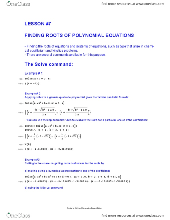 CHEM 5 Lecture Notes - Intermedio, Wolfram Mathematica (Software),  Nonlinear System