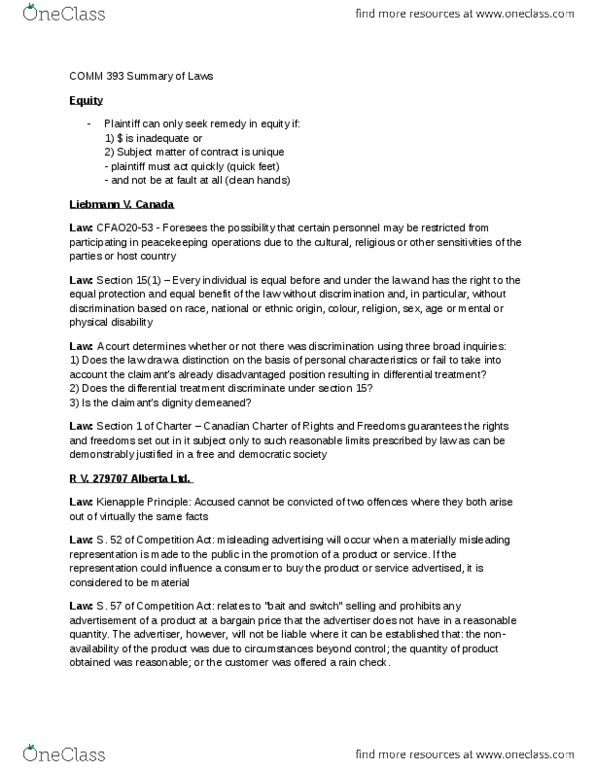 COMM 393 Study Guide - Undue Influence, Zoids, Misrepresentation