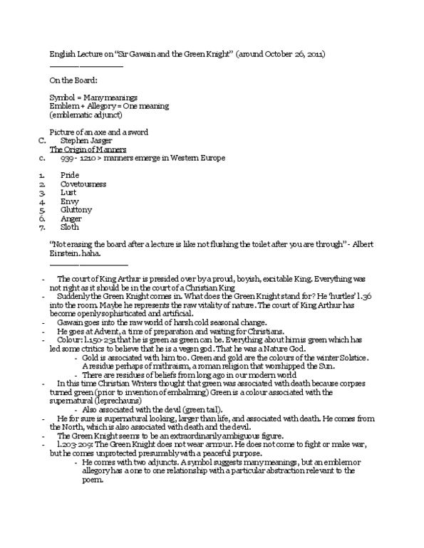 Class Notes for English 1022E at Western University (UWO