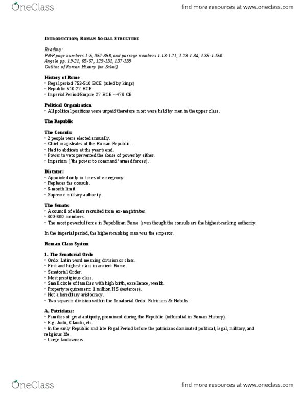Classical Studies 1000 Study Guide - Winter 2013, - Governor