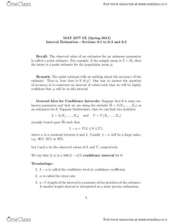 A Level Statistics Notes Pdf