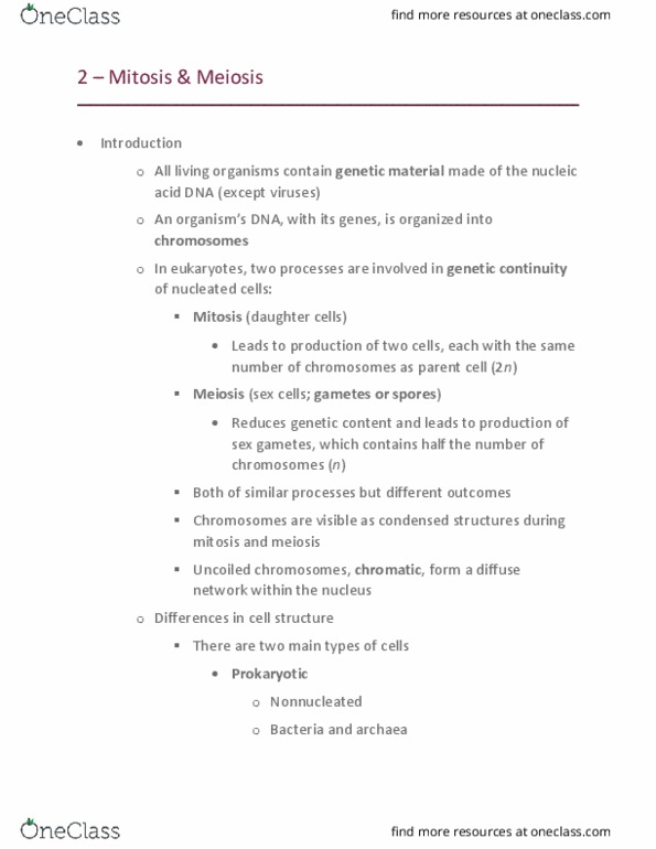 GEN-3000 Lecture Notes - Fall 2020, Lecture 2 - Cytosol, Haemanthus,  Gametophyte