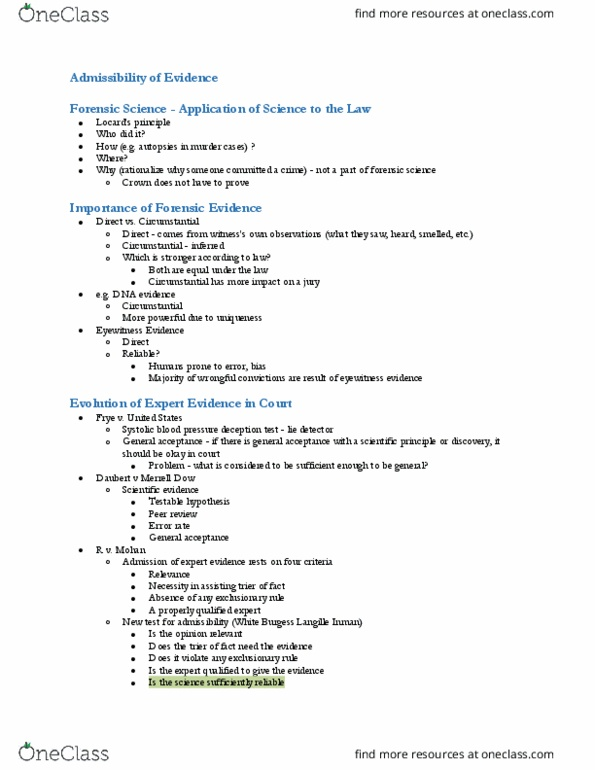 Fsc360h5 Lecture Notes Fall 2018 Lecture 7 Exclusionary Rule Forensic Science Junk Science