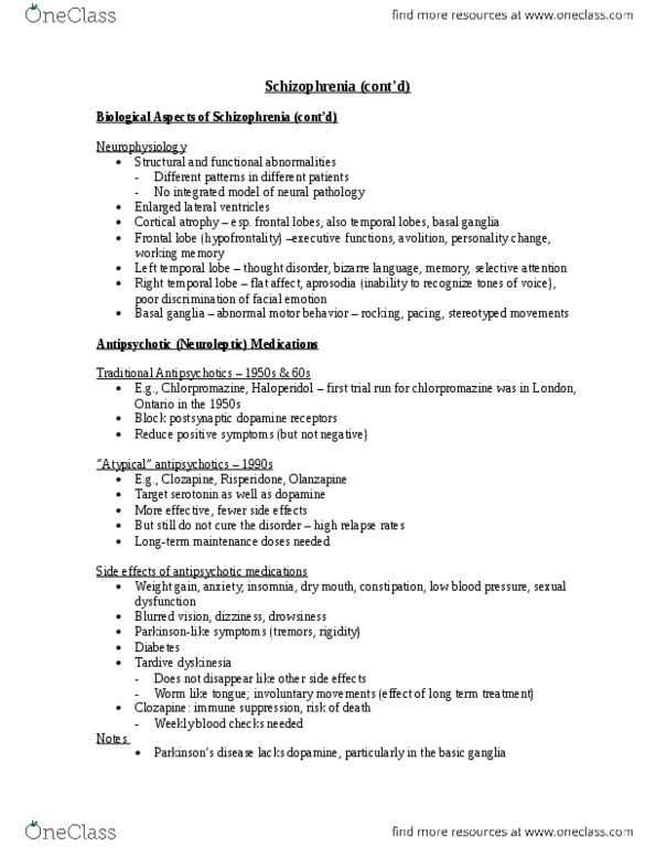 Psychology 2310A/B Lecture Notes - Fugue State, Dissociative Disorder,  Dissociative Experiences Scale