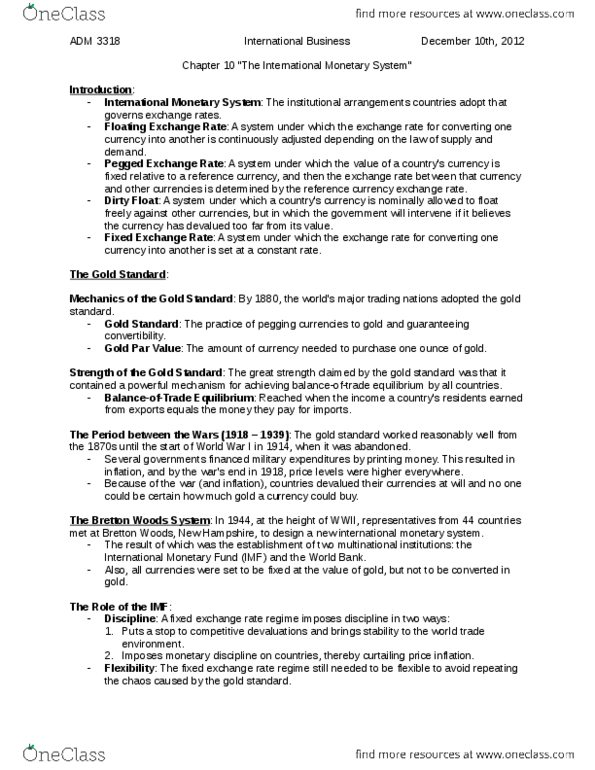 ADM 3318 Study Guide - Final Guide: Single European Act, Foreign Exchange  Risk, Foreign Exchange Market