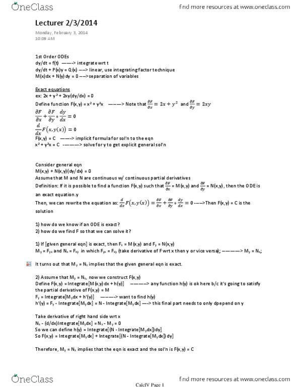 MATH 2574H Study Guide - Midterm Guide: Integrating Factor, Partial  Fraction Decomposition, Product Rule