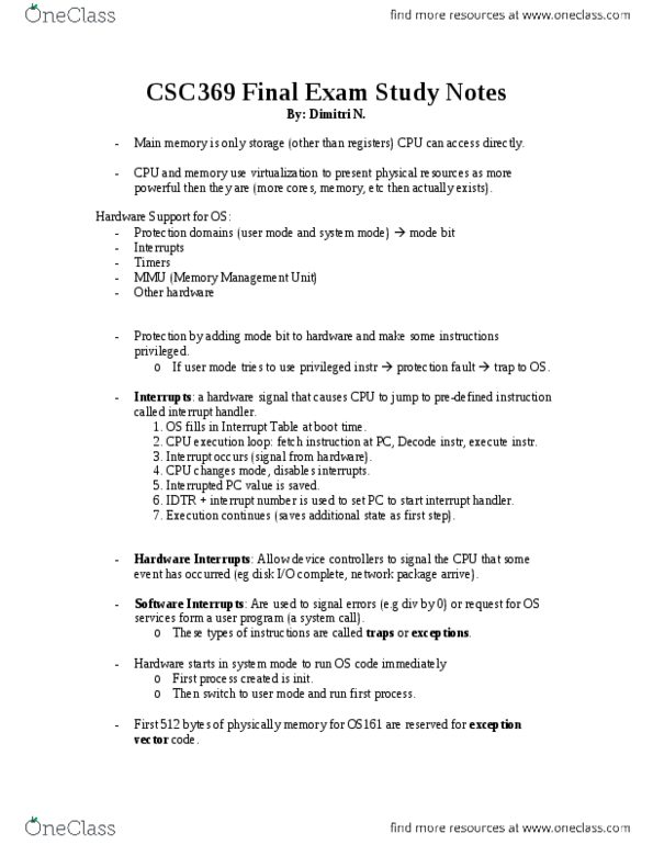 CSC369H1 Study Guide - Fall 2013, Final - Interrupt Handler, Process