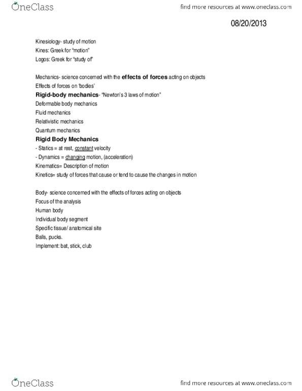 KNR 282 Study Guide - Midterm Guide: Fluid Mechanics, Anthropometry, Statics