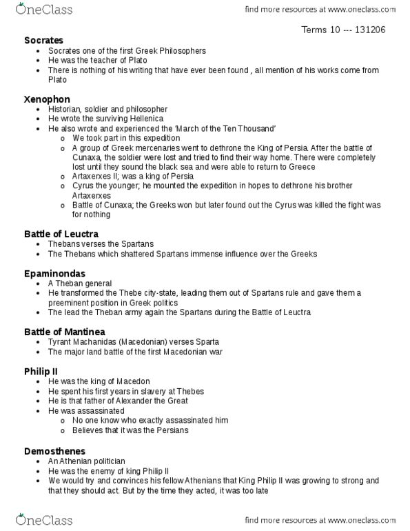 Class Notes for CLCV 1002 at Carleton University - OneClass