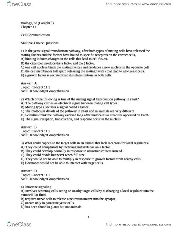 BSC 2011 Study Guide Fall 2012 Quiz Receptor Tyrosine