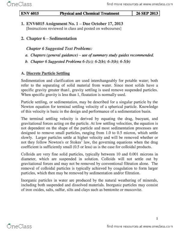 ENV 4341 Study Guide - Reynolds Number, Muscovite, Particle-Size  Distribution