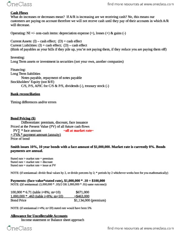 ACCT 4501 Study Guide - Final Guide: Treasury Stock, Retained Earnings,  Income Statement